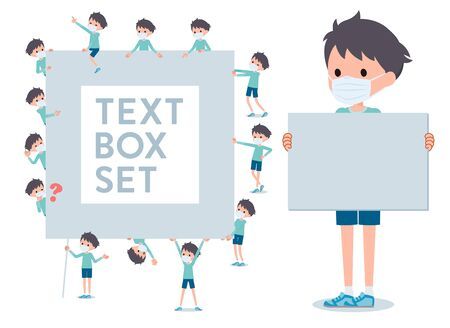 A set of boy wearing mask with a message board.Since each is divided, you can move it freely.It's vector art so it's easy to edit.