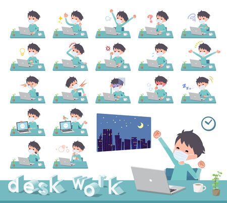 A set of boy wearing mask on desk work.There are various actions such as feelings and fatigue.It's vector art so it's easy to edit.