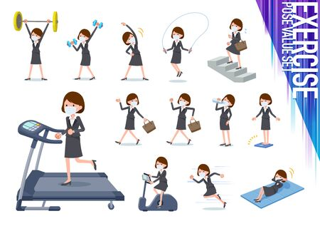 A set of women wearing mask on exercise and sports.There are various actions to move the body healthy.It's vector art so it's easy to edit.