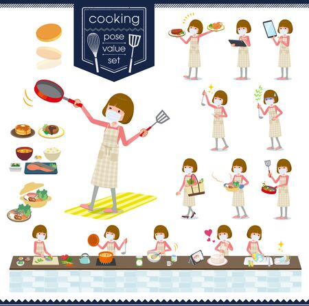 A set of women wearing mask about cooking.There are actions that are cooking in various ways in the kitchen.It's vector art so it's easy to edit.
