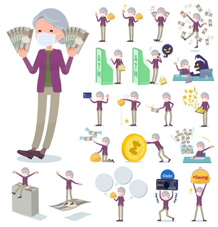 A set of old women wearing mask with concerning money and economy.There are also actions on success and failure.It's vector art so it's easy to edit. Иллюстрация