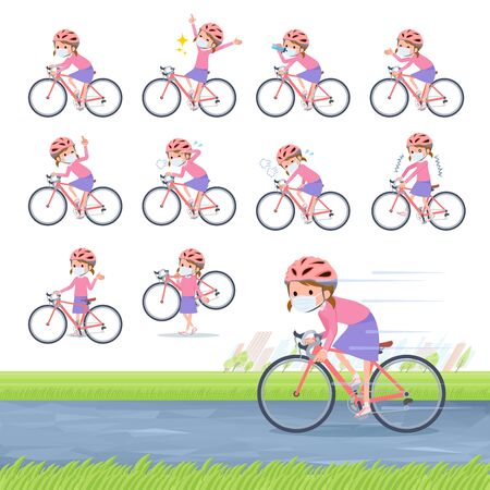A set of girl wearing mask on a road bike.There is an action that is enjoying.It's vector art so it's easy to edit.