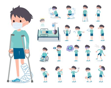 A set of boy wearing mask with injury and illness.There are actions that express dependence and death.It's vector art so it's easy to edit.