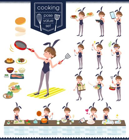 A set of bunny suit Women about cooking.There are actions that are cooking in various ways in the kitchen.It's vector art so it's easy to edit.
