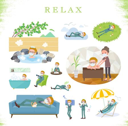 A set of Blond hair businessman wearing mask about relaxing.There are actions such as vacation and stress relief.It's vector art so it's easy to edit.