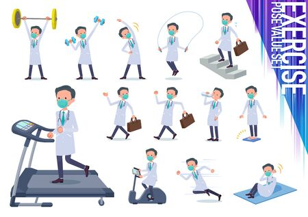 A set of doctor man wearing N95mask on exercise and sports.There are various actions to move the body healthy.It's vector art so it's easy to edit.