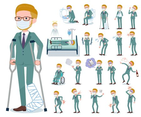 A set of Blond hair businessman wearing mask with injury and illness.There are actions that express dependence and death.It's vector art so it's easy to edit.