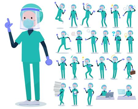 A set of doctor man wearing N95mask face shield with who express various emotions.There are actions related to workplaces and personal computers.It's vector art so it's easy to edit.