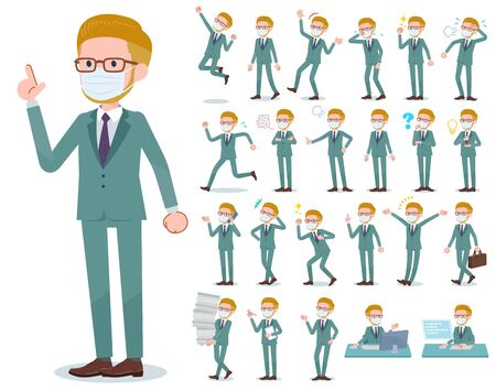 A set of Blond hair businessman wearing mask with who express various emotions.There are actions related to workplaces and personal computers.It's vector art so it's easy to edit. Illustration
