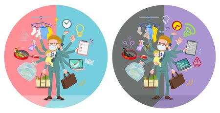 A set of Blond hair businessman wearing mask who perform multitasking in offices and private.There are things to do smoothly and a pattern that is in a panic.It's vector art so it's easy to edit.