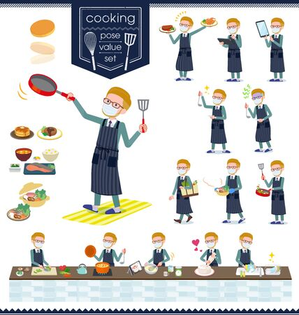 A set of Blond hair businessman wearing mask about cooking.There are actions that are cooking in various ways in the kitchen.It's vector art so it's easy to edit. Ilustração