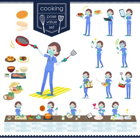A set of women doctors wearing a surgical mask and goggle about cooking.There are actions that are cooking in various ways in the kitchen.It's vector art so it's easy to edit. Ilustração