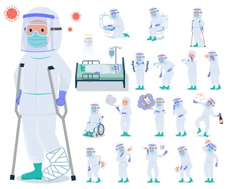 A set of doctor man wearing protective suit with injury and illness.There are actions that express dependence and death.It's vector art so it's easy to edit.
