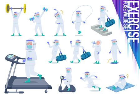 A set of doctor man wearing protective suit on exercise and sports.There are various actions to move the body healthy.It's vector art so it's easy to edit.
