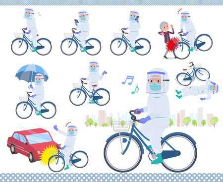 A set of doctor man wearing protective suit riding a city cycle.There are actions on manners and troubles.It's vector art so it's easy to edit.