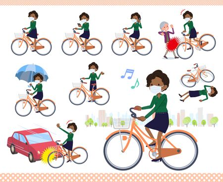 A set of women wearing mask riding a city cycle.There are actions on manners and troubles.It's vector art so it's easy to edit.