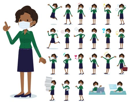 A set of women wearing mask with who express various emotions.There are actions related to workplaces and personal computers.It's vector art so it's easy to edit.