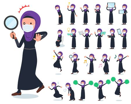 A set of women wearing mask and hijab with digital equipment such as smartphones.There are actions that express emotions.It's vector art so it's easy to edit. Illustration