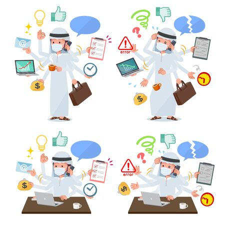 A set of man wearing mask who perform multitasking in the office.There are things to do smoothly and a pattern that is in a panic.It's vector art so it's easy to edit.