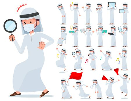 A set of man wearing mask with digital equipment such as smartphones.There are actions that express emotions.It's vector art so it's easy to edit. Illustration