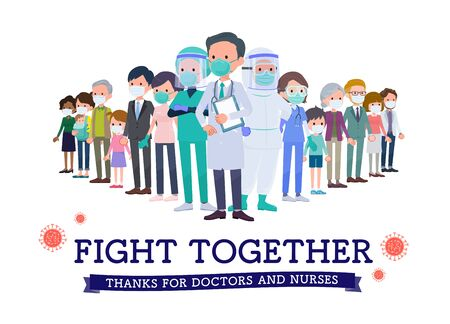 It is an image of fighting the coronavirus with medical staff..It's vector art so it's easy to edit.
