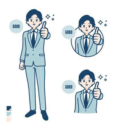 A young Businessman in a suit with Thumbs up images.It's vector art so it's easy to edit. Illustration