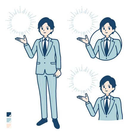A young Businessman in a suit with Manipulating light images.