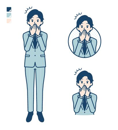 A young Businessman in a suit with surprised images.It's vector art so it's easy to edit.