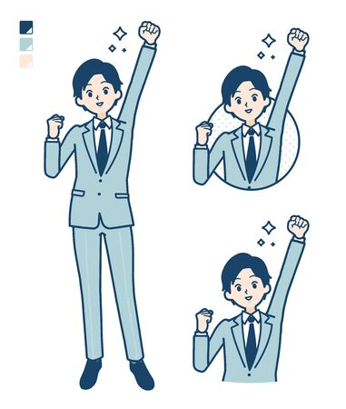 A young Businessman in a suit with fist pump images.