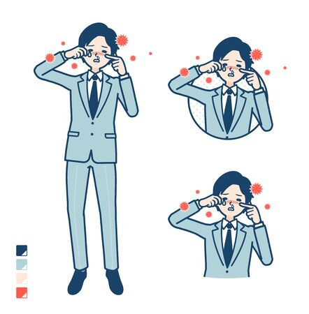 A young Businessman in a suit with Suffer from pollen allergy images.It's vector art so it's easy to edit.