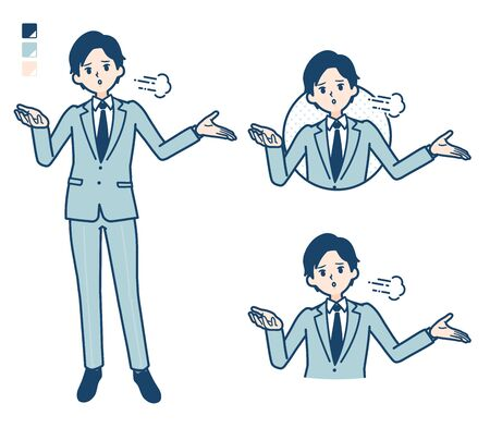 A young Businessman in a suit with Discouraged images.It's vector art so it's easy to edit.