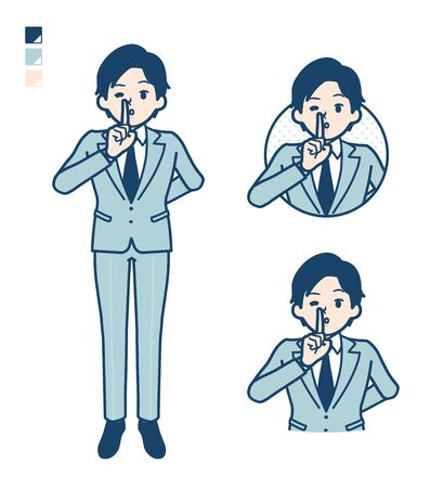 A young Businessman in a suit with be quiet hand sign images.It's vector art so it's easy to edit. Vektoros illusztráció