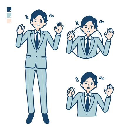 A young Businessman in a suit with panic images.It's vector art so it's easy to edit. Vettoriali