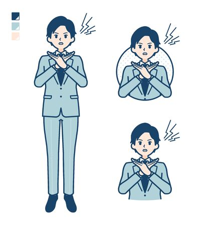 A young Businessman in a suit with Making a Cross with arms images.It's vector art so it's easy to edit.