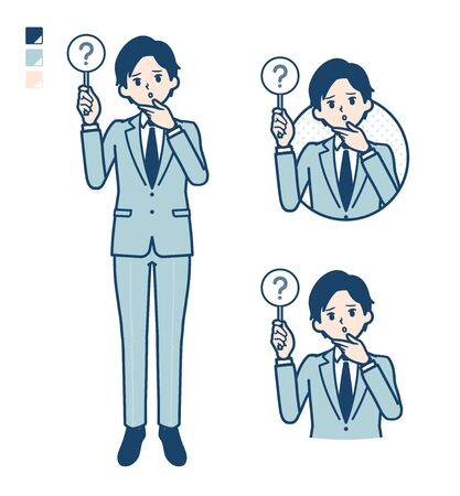 A young Businessman in a suit with Put out a question panel image.It's vector art so it's easy to edit. 일러스트
