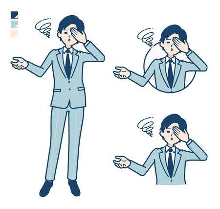 A young Businessman in a suit with Discouraged head images.