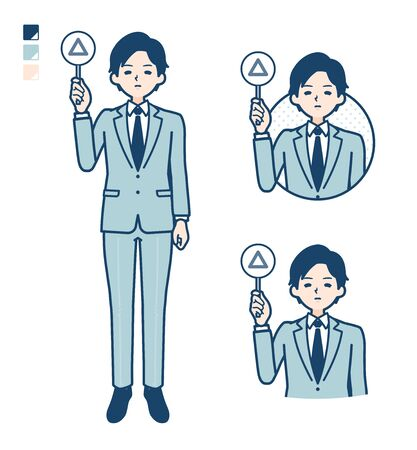 A young Businessman in a suit with Put out a Triangle panel image.It's vector art so it's easy to edit. 일러스트