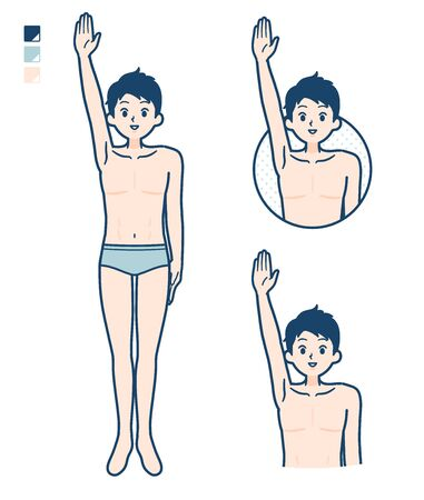 A young man in a underwear with raise hand images.It's vector art so it's easy to edit.