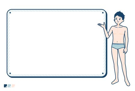 A young man in a underwear with Frame board guide image.It's vector art so it's easy to edit.