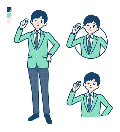 A student boy in a green blazer with Just a bit Hand sign images.It's vector art so it's easy to edit.
