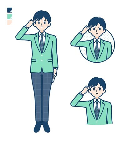 A student boy in a green blazer with salute images.It's vector art so it's easy to edit.