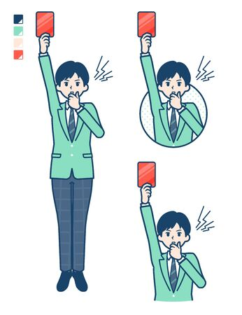 A student boy in a green blazer With a red card images.It's vector art so it's easy to edit.