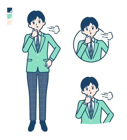 A student boy in a green blazer with Sighing images.It's vector art so it's easy to edit.