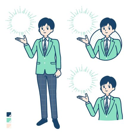 A student boy in a green blazer with Manipulating light images.