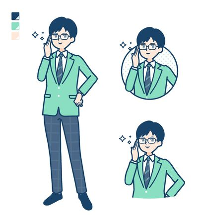 A student boy in a green blazer with Wearing glasses images.It's vector art so it's easy to edit.