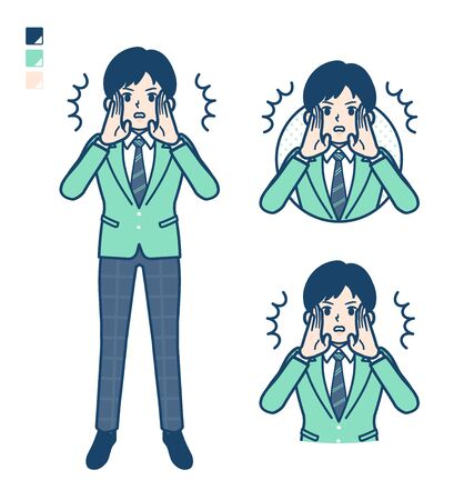 A student boy in a green blazer with Warned loudly images.It's vector art so it's easy to edit.