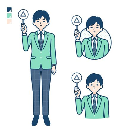 A student boy in a green blazer with Put out a Triangle panel image.It's vector art so it's easy to edit. 일러스트