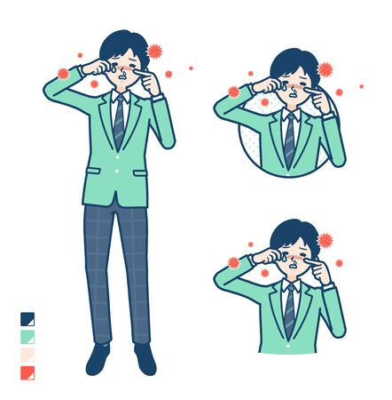 A student boy in a green blazer with Suffer from pollen allergy images.