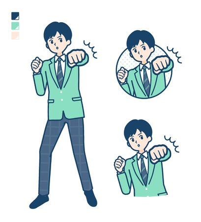 A student boy in a green blazer with Punch in front images.It's vector art so it's easy to edit.
