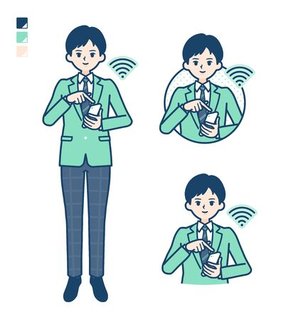 A student boy in a green blazer with Operate smartphone images.